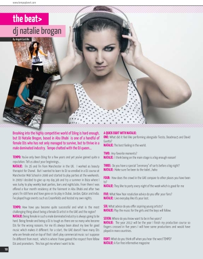 Article on DJ Natalie Brogan