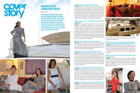 Cover story on life on a yacht